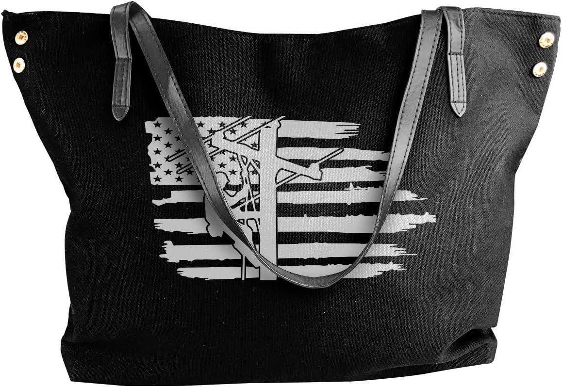 Lineman Wife Womens Tote Bags Canvas Shoulder Bag Casual Handbags