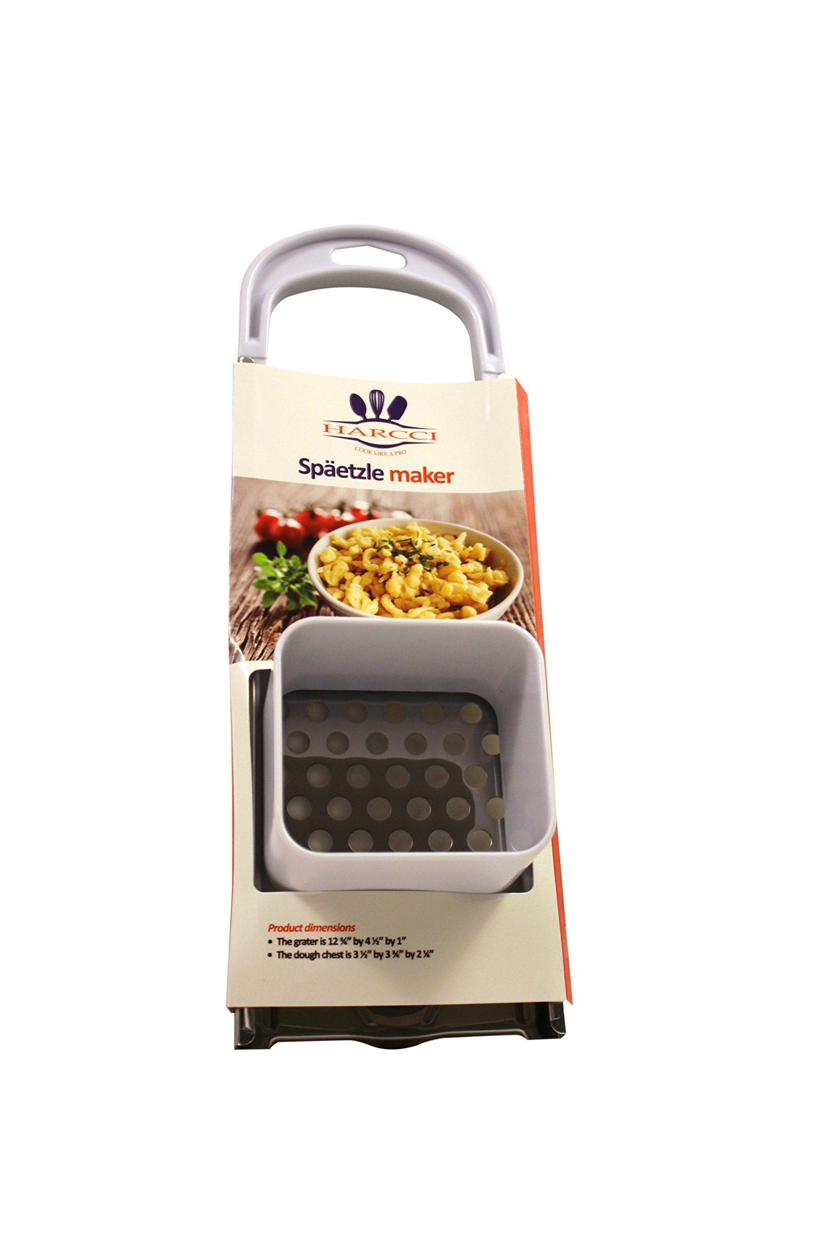 Spaetzle Maker By HARCCI : Homemade German Noodle Dumpling Making Tool With Safety Pusher And A Comfortable Handle – Stainless Steel And Food Grade Plastic In 5 Fun Colors (white)
