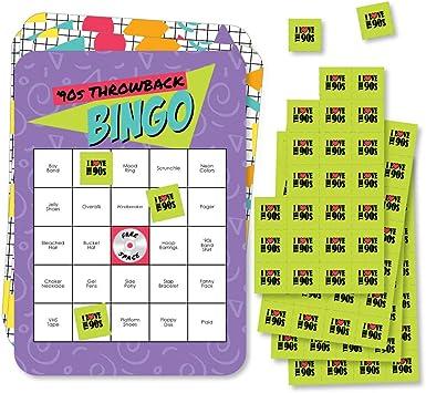 Big Dot of Happiness 90 s Throwback – Tarjetas de bingo de bar y marcadores – Juego de bingo de fiesta de los años 90 – Juego de 18: Amazon.es: Juguetes y juegos
