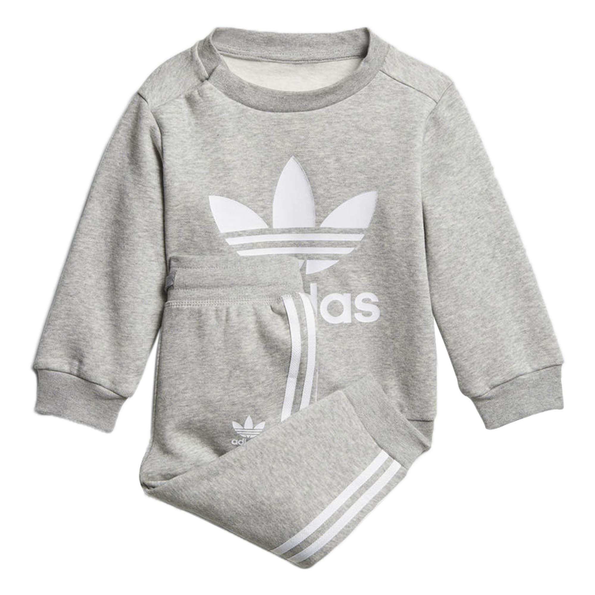 Adidas Kids Originals Trefoil Crew Track Suit (9M, Medium Grey Heather/White)