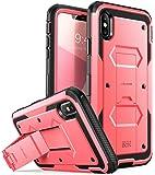 iPhone Xs Max 手机壳,[Armorbox] i-Blason [内置屏幕保护膜][全身][重型保护] [支架] iPhone Xs Max 6.5 英寸 (2018) 减防震手机壳 粉红色