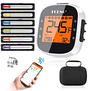 BBQ Thermometer Wireless Bluetooth Meat Thermometers with 6 Probes & Protector Case, 328ft Rechargeable Smart Digital Wireless Meat Thermometer for Smoker Grill Oven Food Cooking Thermometer