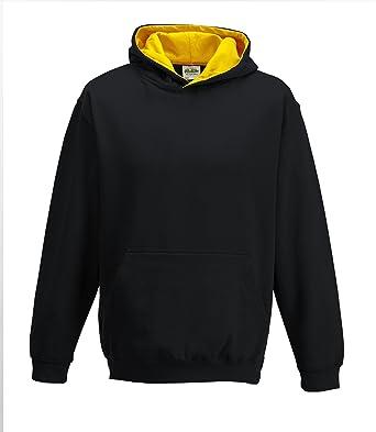 Just Hoods Kids Varsity Hoodie Black / gold age 3/4
