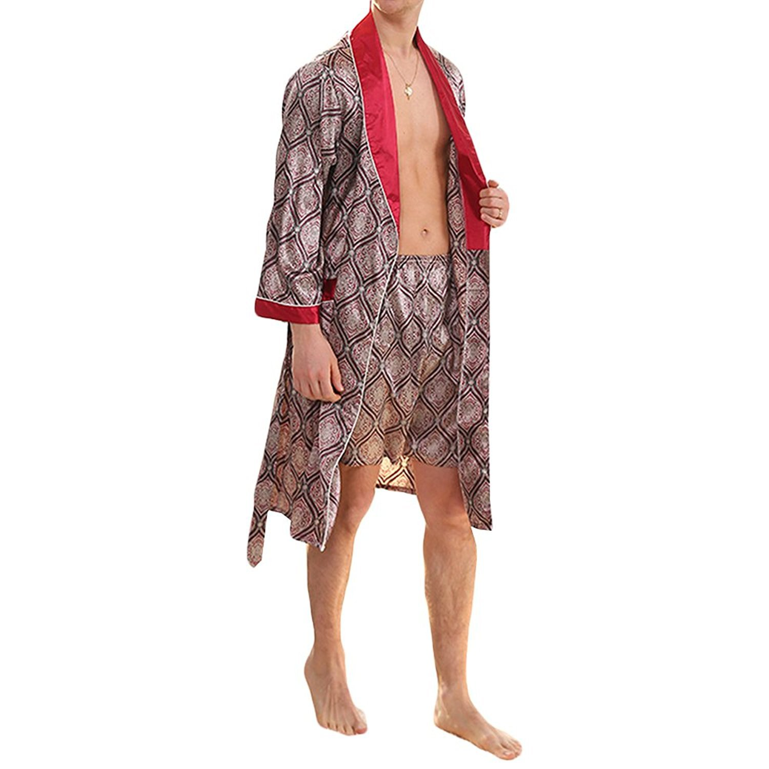 YIMANIE Men's Silk Satin Robe Luxurious Spa Long Sleeve House Kimono Nightwear Bathrobe,Red,2XL