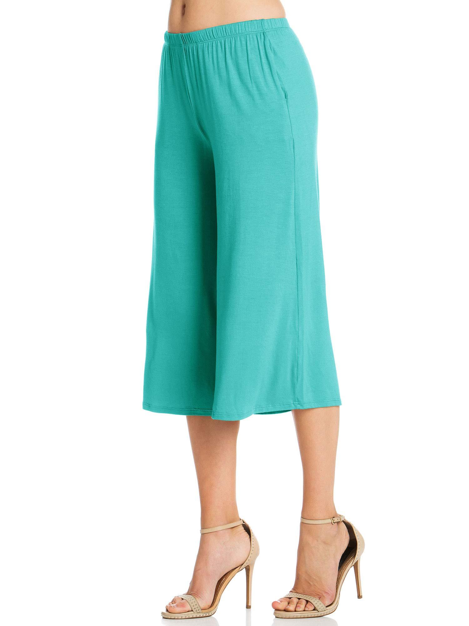 Fashion California Womens 1 Pack Elastic Waist Jersey Culottes Capri Pocket Pants (XXXXX-Large, Aqua) by Fashion California (Image #3)