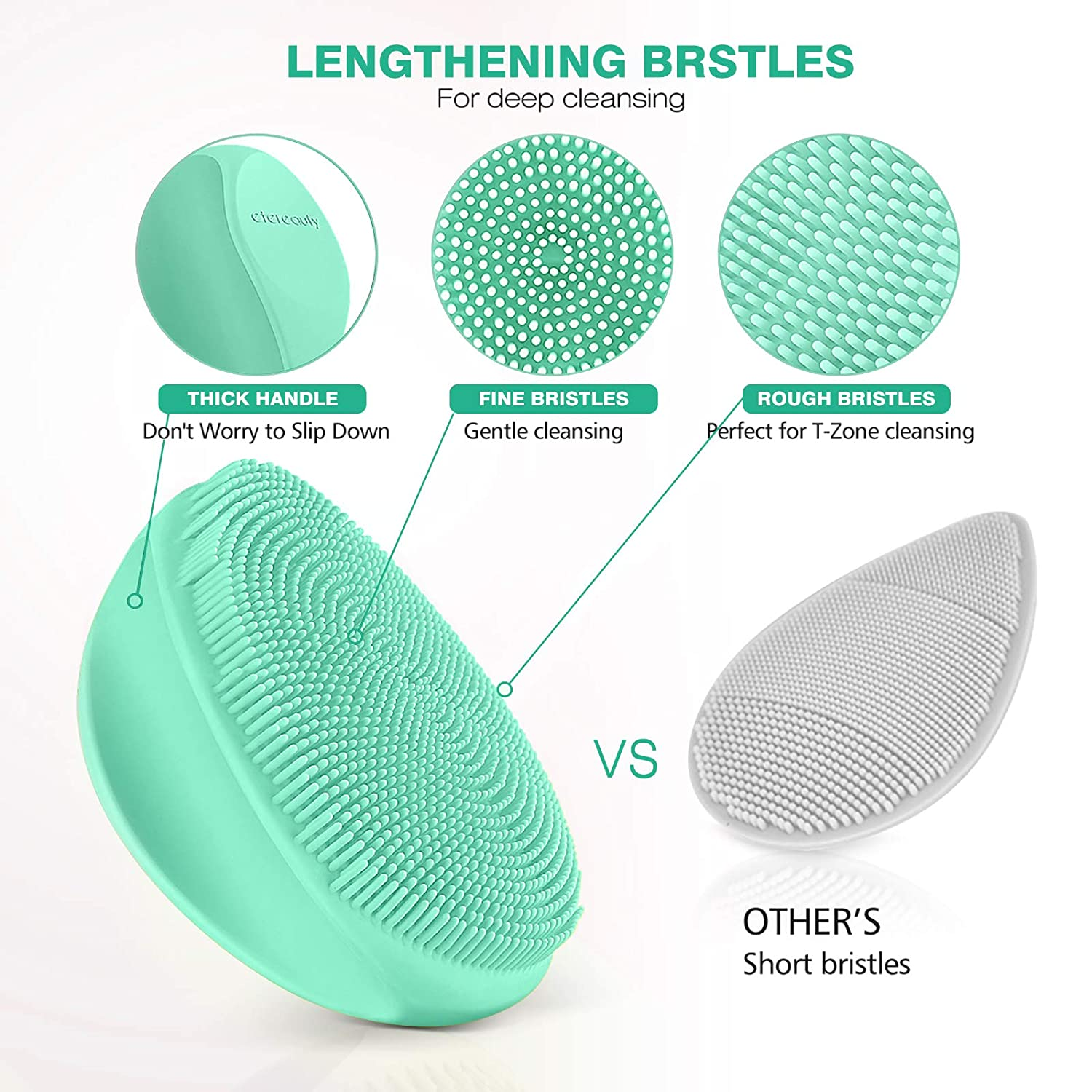 Silicone Face Scrubber Exfoliator Brush, Manual Facial Cleansing Brush Pad Soft Face Wash Brush 2 Pack (Gray and Green)