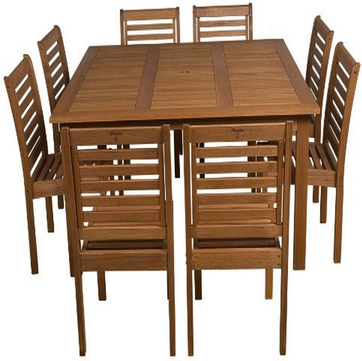 Amazonia Venice 9-Piece Outdoor Armless Square Dining Set | Eucalyptus Wood | Ideal
