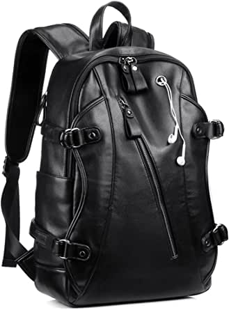 Backpack for Men, KISSUN 15.6 inch Business PU Soft Leather Anti-Theft Backpack for Men School College Bookbag Laptop Computer Bags, PU Leather Travel Backpack with Headphone Ports