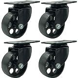 """FactorDuty 4 All Black Metal Swivel Plate Caster Wheels Heavy Duty High-Gauge Steel (3"""" No Brake)"""