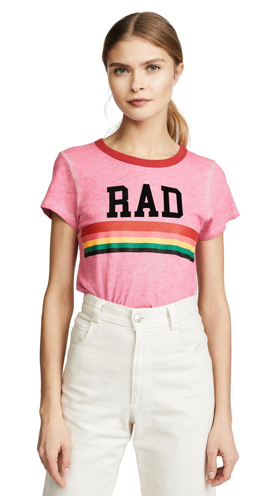Pam & Gela Women's Pink Rad Rainbow Ringer Tee, Neon Pink, Large