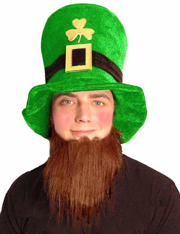 st patrick u0027s day velvet leprechaun hat with beard amazon co uk