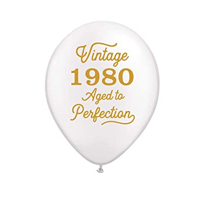 Vintage 1980 White Balloons - 40th Birthday Balloons - Set of 3: Health & Personal Care