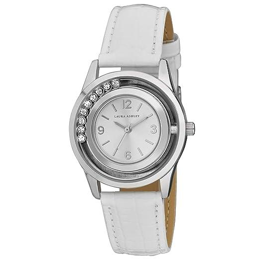 Laura Ashley - Reloj de Pulsera para Mujer, diseño de Piedras flotantes Plateadas, Correa de Tela Blanca: Laura Ashley: Amazon.es: Relojes