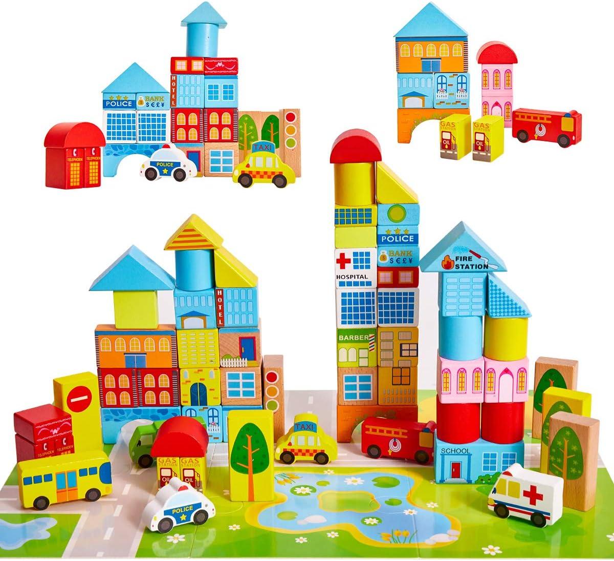 Onshine Juguetes de Madera Bloques Construccion con Coche Puzzle Juego Educativo para 3 Años Niños Bebe Infantiles
