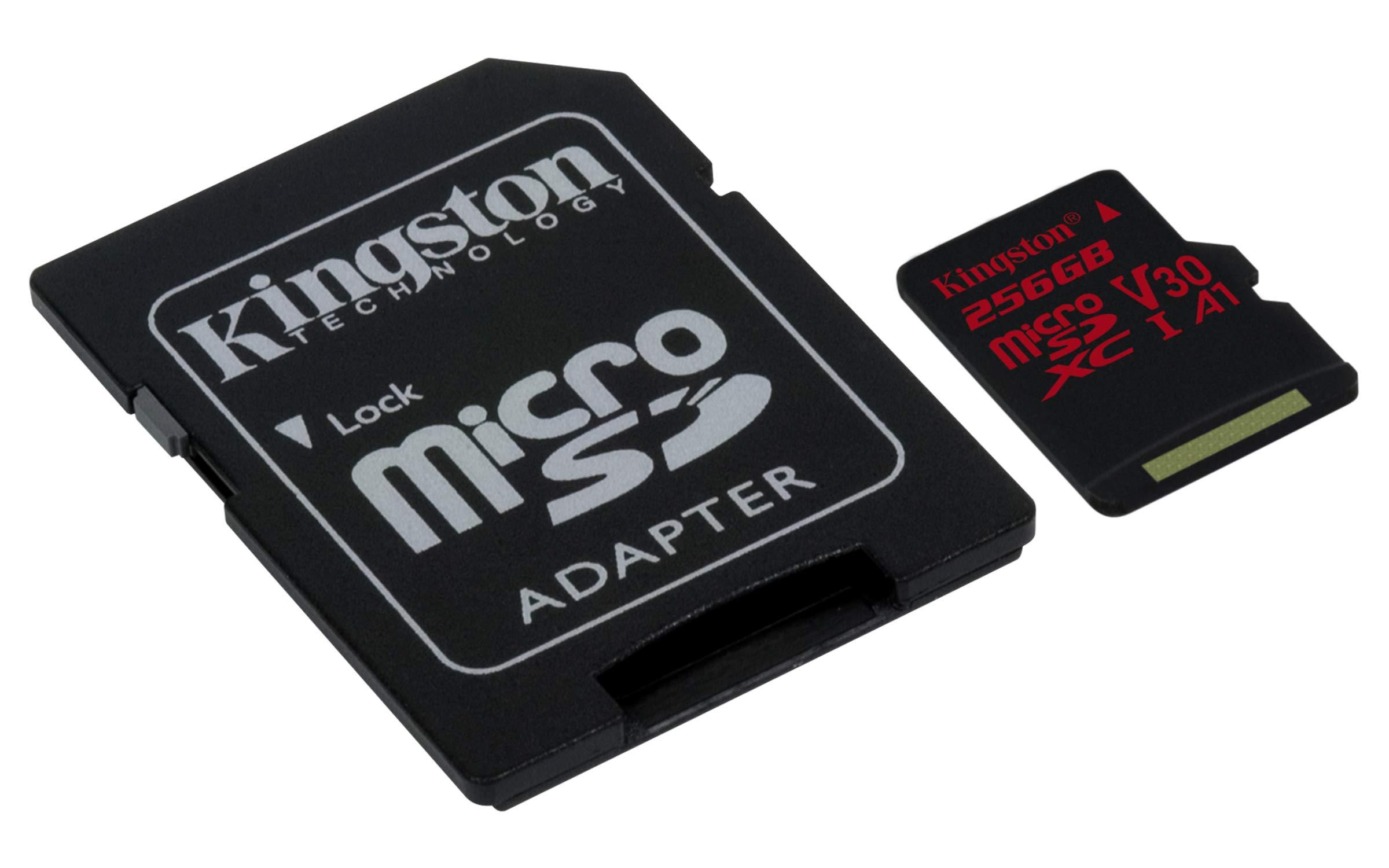 Kingston Digital SDCR/256GB Canvas React 256GB microSDXC Class 10 microSD Memory Card UHS-I 100MB/s R Flash Memory High Speed microSD Card with Adapter by Kingston