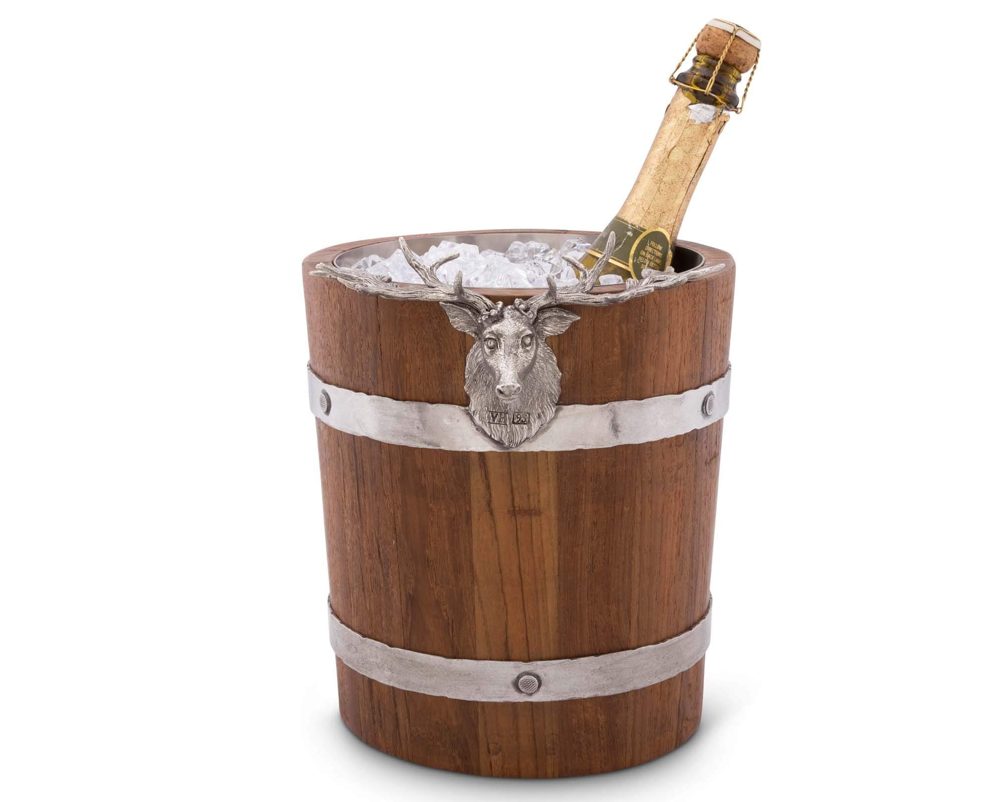 Vagabond House Teak Wood Vintage Pail Ice/Wine / Champagne Bucket with Pewter Elk Head Accent 9.5'' Tall