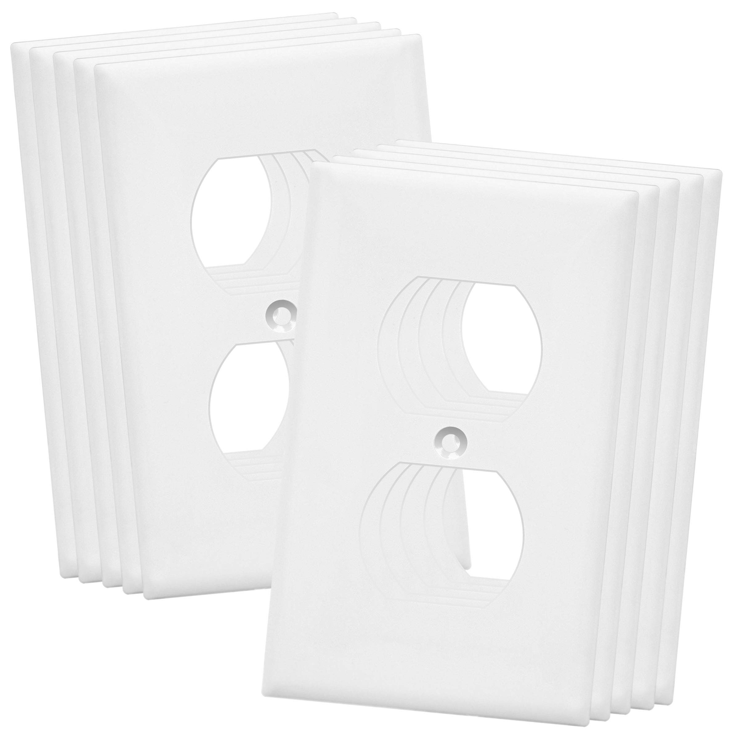 ENERLITES Duplex Receptacle Outlet Wall Plate, Over-Size 1-Gang 5.5'' x 3.5'', Polycarbonate Thermoplastic, 8821O-W-10PCS, White (10 Pack)