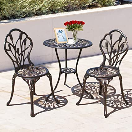 Topeakmart 3 Piece Patio Set with Umbrella Hole Outdoor Patio Furniture  Tulip Design Setting Cast Bistro - Amazon.com: Topeakmart 3 Piece Patio Set With Umbrella Hole Outdoor