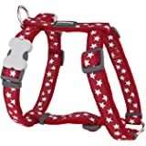 Red Dingo Desinger Dog Harness, White Stars on Red (20mm x Neck: 36-59cm/Body 45-66cm) M