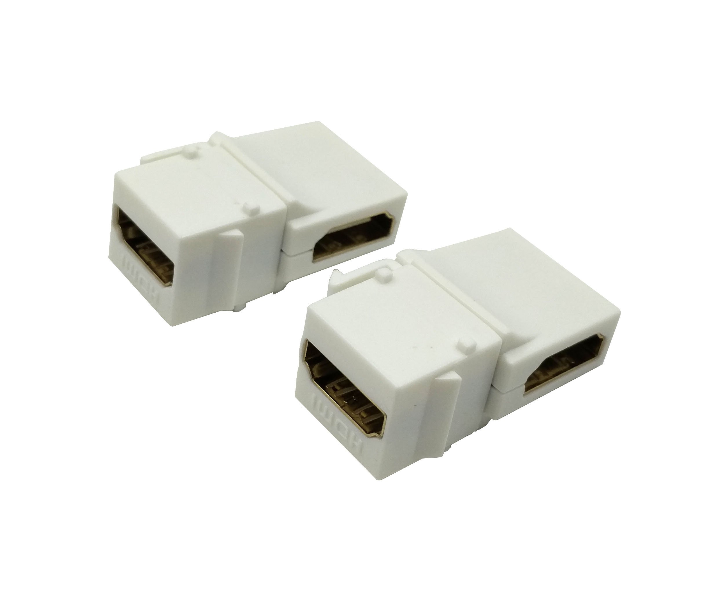 Exuun HDMI Keystone Jack, (2-Pack) Gold-Plated HDMI Female to Female Insert Wall Plate Connectors Adapter With 90 Degree Feed