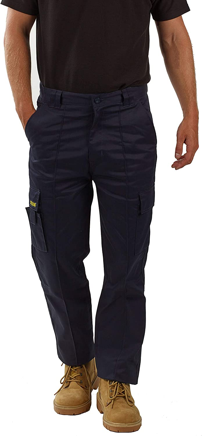 SITE KING Mens Cargo Combat Work Trousers Sizes 28 to 56 with Button /& Zip Fly