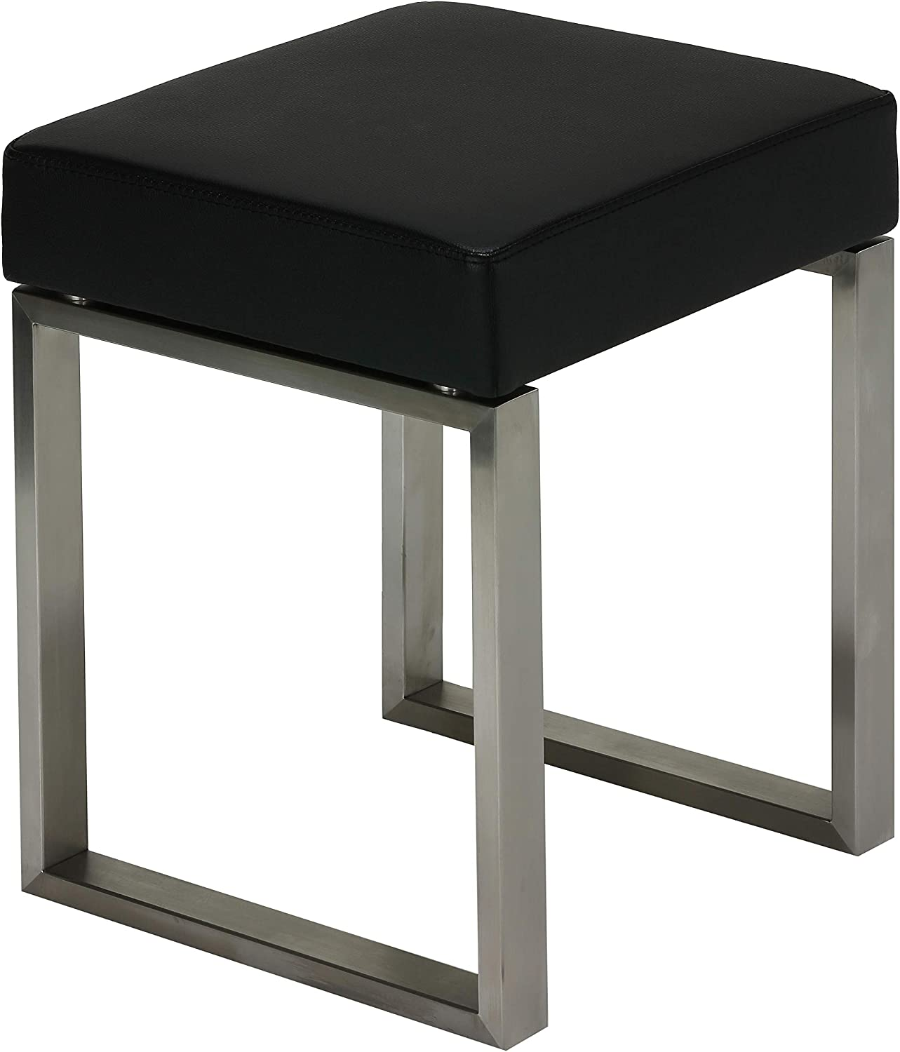 Cortesi Home Tilio Stainless Steel Stool in Black Leather Like Vinyl and Brushed Nickel, CH-CS624999