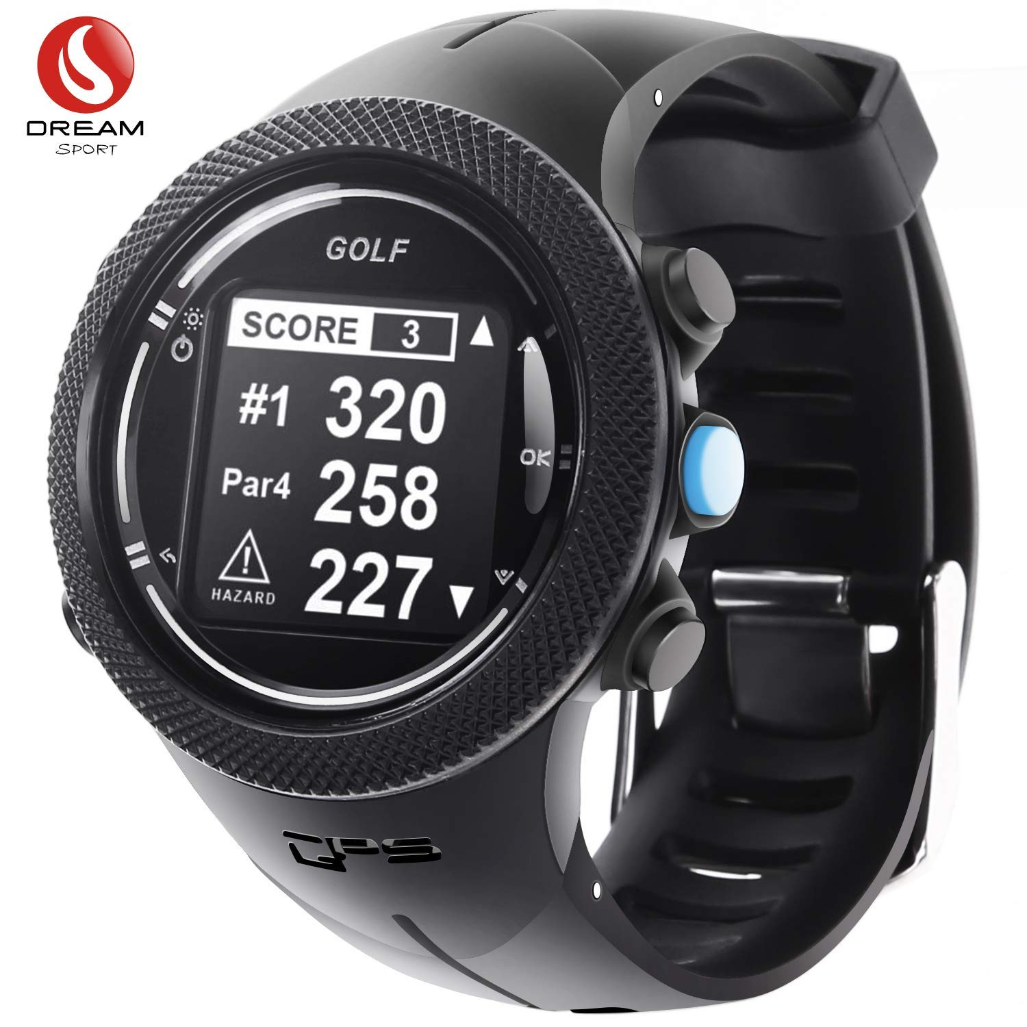 DREAM SPORT GPS Golf Watch Course Rangefinder Measure Shot and Recording Score with 40,000+ Courses Updating and 30Meter Waterproof - Warranty1.5 Year and Free Lifetime Brand Service DGF301 (Black) by DREAM SPORT