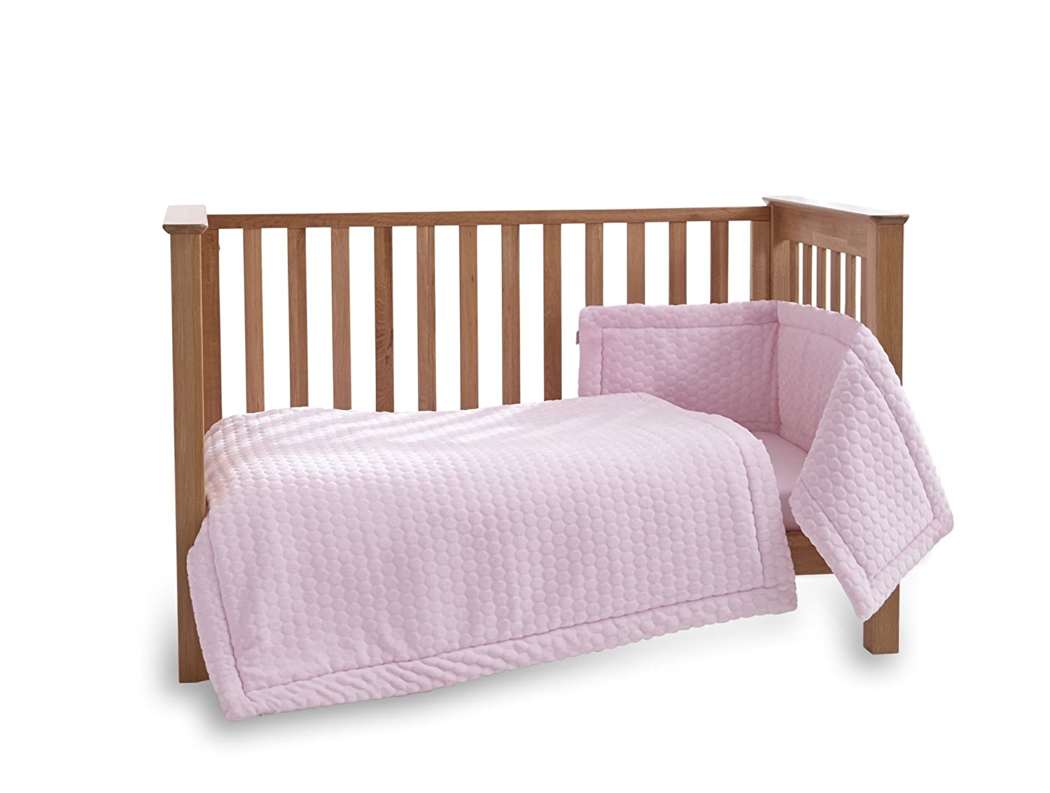 Clair de Lune Marshmallow 3 Piece Cot/Cot Bed Quilt & Bumper Bedding Set - Pink CL5174P