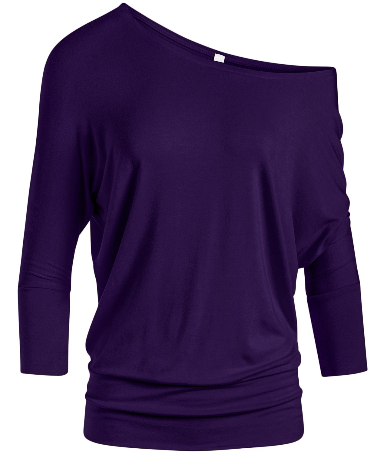 Simlu Dolman 3/4 Sleeve Drape Round Neck Top With Banded Waist - Made In USA, Purple, Small