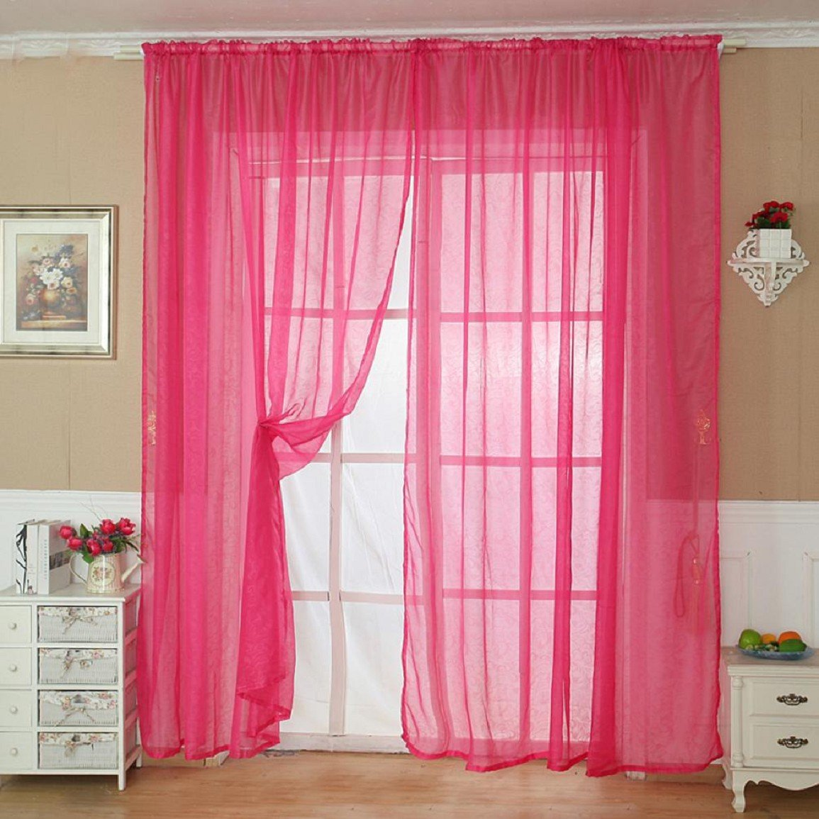 Changeshopping Solid Color Tulle Door Window Curtain Drape Panel Sheer Scarf Valance (Brown)