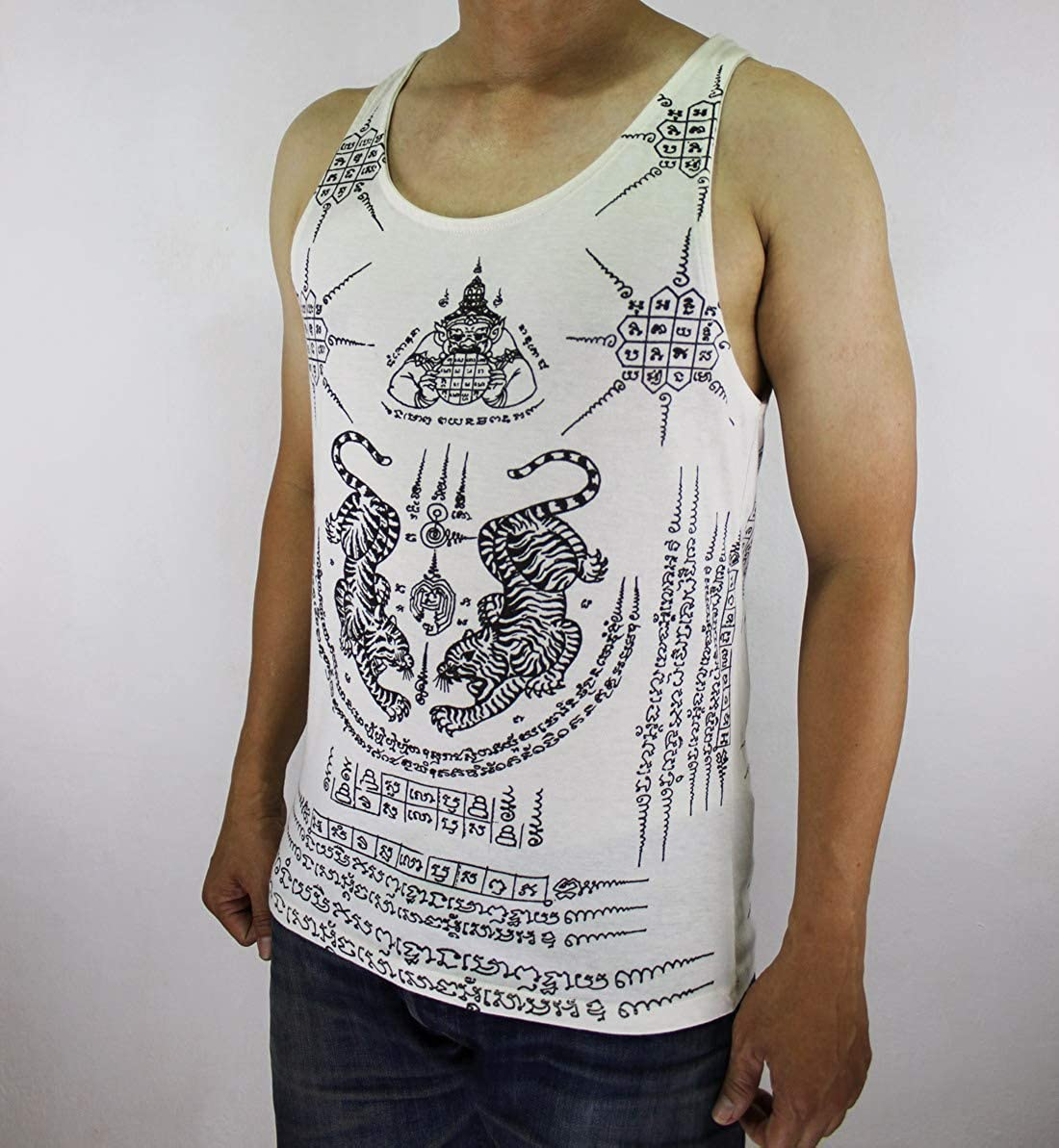 WORK Thai Tattoo Sak Yant tiger native Tank Top White WK-T06 size L