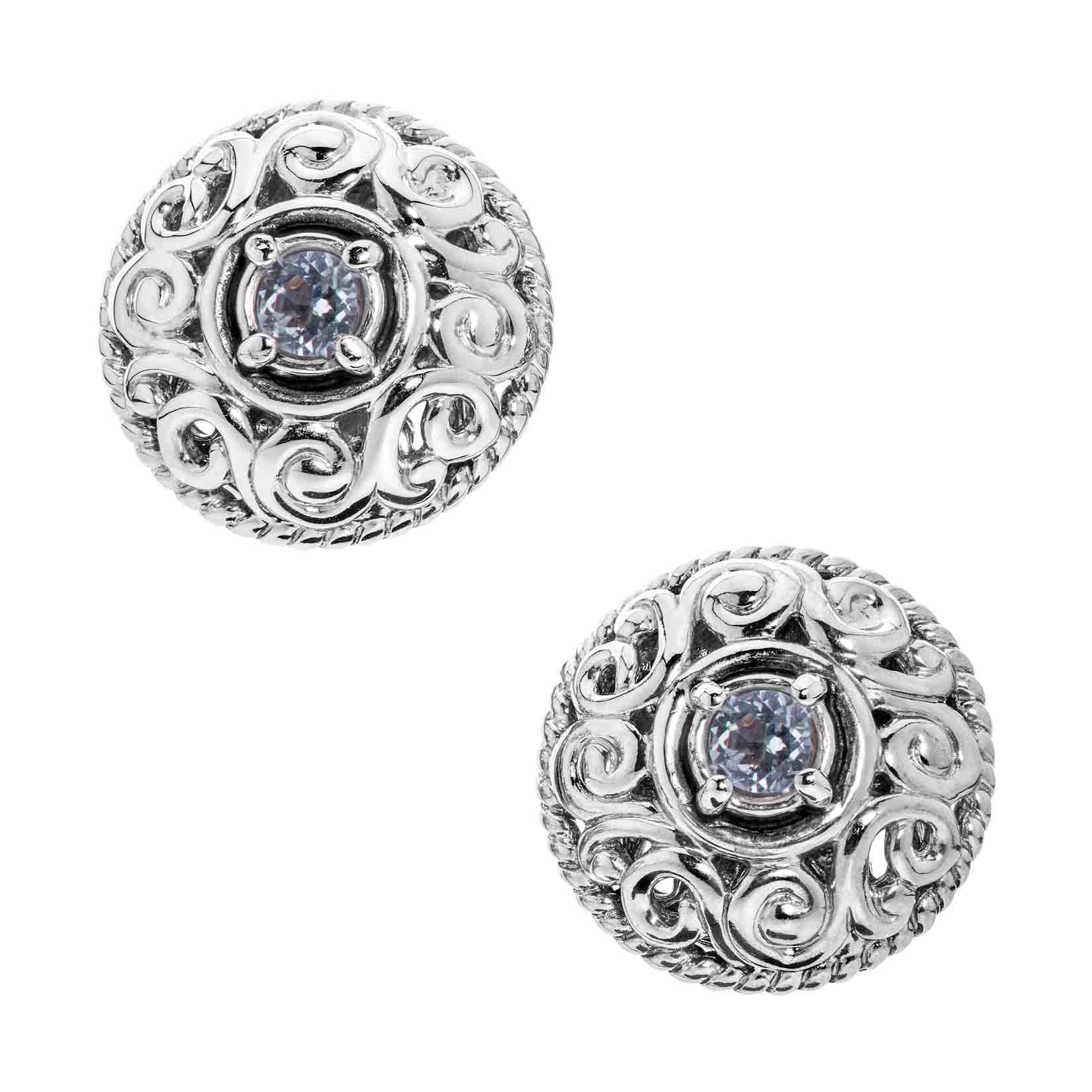 Carolyn Pollack Genuine .925 Sterling Silver White Topaz Birthstone Button Earrings
