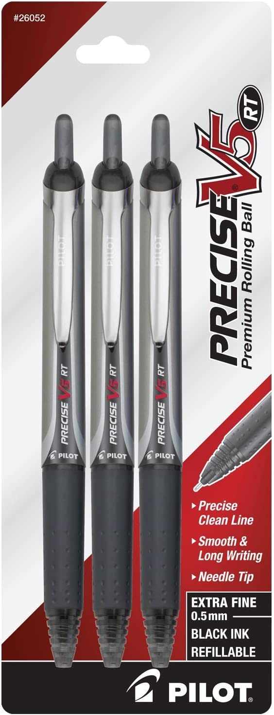 Extra Fine Point Pilot Precise V5 RT Retractable Rolling Ball Pens with 6 Black Ink Refill Black Ink 6 Pens 26052
