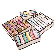 Set of 4 Foldable Storage Bin, Storage Box for Bra, Socks and Scarves, Closet Underwear Organizer Drawer Divider (Cream)