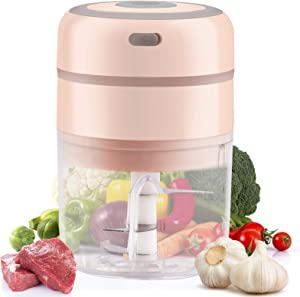 Domccy Electric Mini Garlic Chopper, 250ml Food Mincer with Three Powerful Blade, Wireless Portable Food Processor for Fruits, Vegetables Salad, Chili, Onions, Nuts, Pepper, Ginger Pink