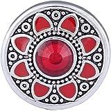 Morella Damen Click-Button Druckknopf Blumen Ornament mit rotem Zirkoniastein