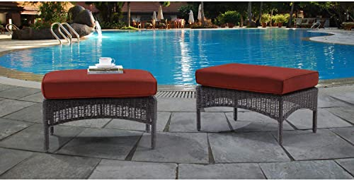 Hanover SMAR-2PCOT-RED Red San Marino Set with 2 Woven Ottomans with Cushions
