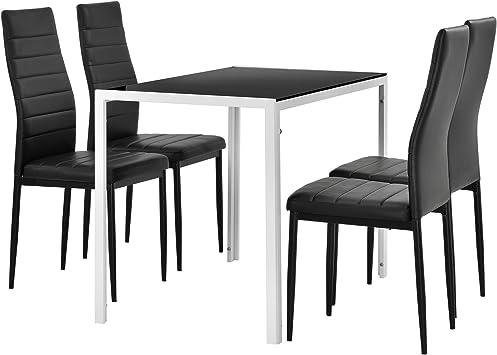 [en.casa] Juego de Comedor Moderno Mesa Blanco/Negro + 4 sillas ...