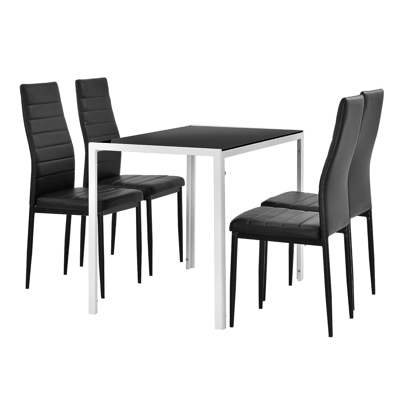 [en.casa] Moderner Esstisch Schwarz weiß + 4er Stuhlset Schwarz