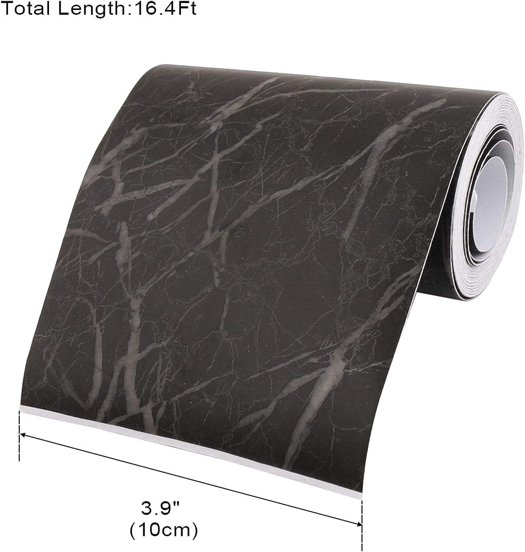 DeoMeat Selbstklebefolie Skirting Wand Taillen-Linie Border-Aufkleber f/ür Wohnzimmer Fussboden Schwarzen Marmor Papier 5M