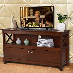 Tangkula Wood TV Stand, Modern Multipurpose Home Furniture Storage Console Entertainment Media Center (Coffee)