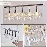Somptueuse suspension Chevak avec cristaux d'ornements - Luminaire suspendu parfait pour salle à manger, salon, couloir, cuisine - Lampe d'intérieure en métal avec culot E14 - Plafonnier 5-lumières