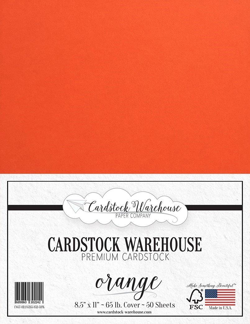 オレンジ厚紙 - 8.5 x 11インチ - 65ポンド Cardstock Warehouse プレミアムカバー 50枚 B0765LDX89