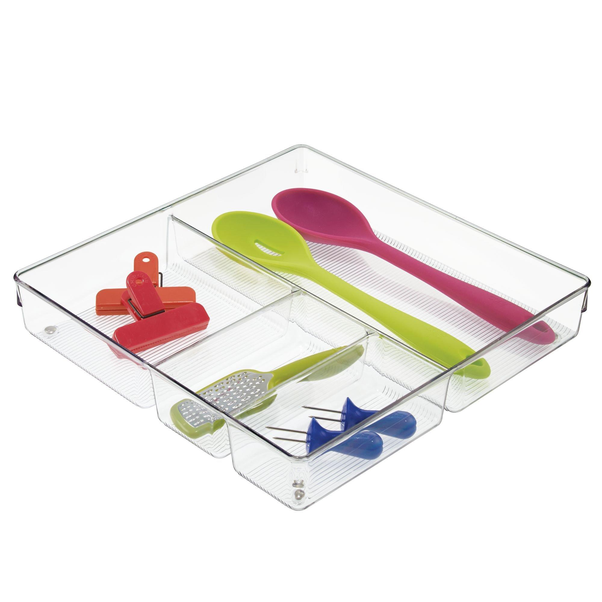 InterDesign Linus Plastic Grand Divided Organizer, Storage Container for Kitchen, Vanity, Bathroom Drawers, 12'' x 12'' x 2'' Clear by InterDesign (Image #4)