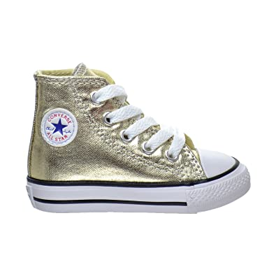 Converse Kids Girls' Chuck Taylor All Star Metallic Canvas Hi (Infant),  Light