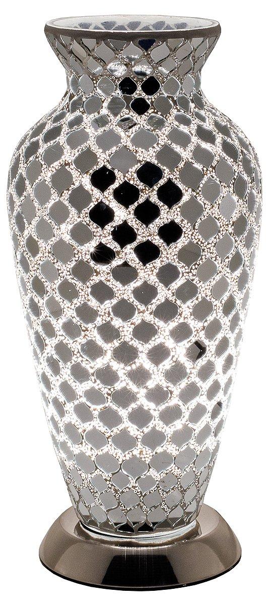 Febland Peacock Tile Mosaic Vase Lamp, Glass, Black [Energy Class B] LM79DG