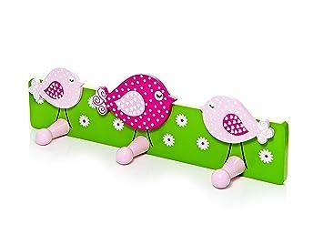 Mousehouse Gifts Triple Gancho Perchero de Pared para la Ropa en Tonos Rosas y Decorado con pájaros para la habitación de Las niñas