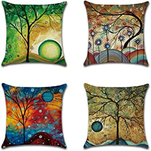 AUSTARK Throw Pillow Covers 18x18 Inch Set of 4, Linen Decorative Square Pillowcase Cushion Case for Home Office Dorm Cafe (Style 9)