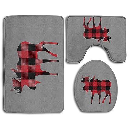 bfb8af83 BOOM-BM Buffalo Plaid Moose Lumberjack Red Black Bathroom Rug Mats Set 3  Piece -