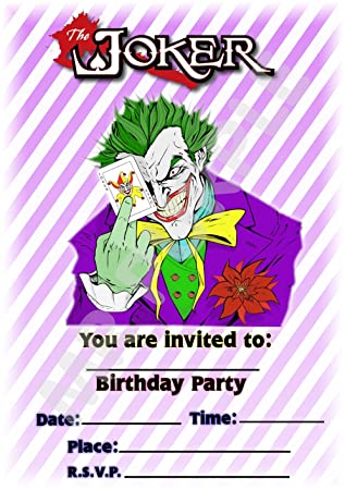 Batman The Joker Birthday Party Invites